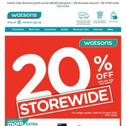 [Watsons] Calling all bargain hunters! Storewide 20% is back!