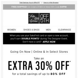 [Saks OFF 5th] Take an EXTRA 30% OFF Valentino & MORE