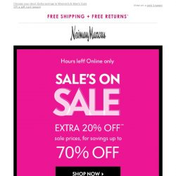 [Neiman Marcus] Ends soon: Extra 20% off Sale + $50 gift card
