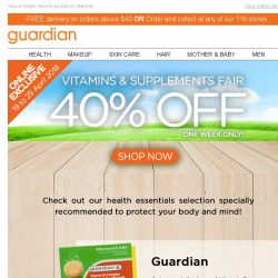 [Guardian] 💊 40% OFF VITAMINS & SUPPLEMENTS! | ONE WEEK ONLY!