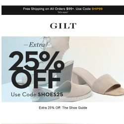 [Gilt] Extra 25% Off: The Shoe Guide | Burberry Apparel and More Start Now