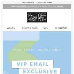 [Saks OFF 5th] Your $30 OFF expires today!