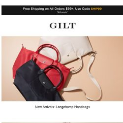 [Gilt] New Arrivals: Longchamp Handbags   Up to 60% Off: James Perse and More Start Now