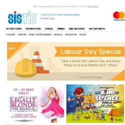 [SISTIC] You deserve every discount there is this Labour Day! 😃