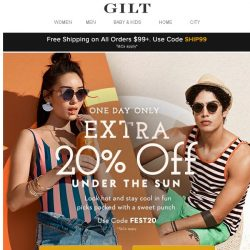 [Gilt] Extra 20% Off: Splashy looks for your next beach event