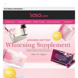 [SaSa ] Japanese Hottest Whitening Supplement Up to 88% Off!