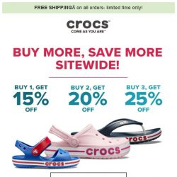 [Crocs Singapore] The more you shop, the more you save! Enjoy savings up to 25% OFF + Free Shipping