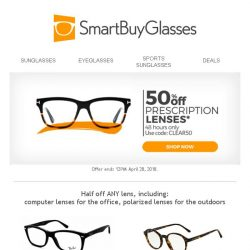 [SmartBuyGlasses] 50% discount on lenses starts now, for 2 days only!