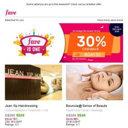[Fave] 30% Cashback on Jean Yip, Philip Wain & more!