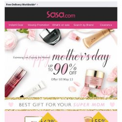 [SaSa ] 【Mother's Day】Show your love to your super mom! Discount up to 90% OFF!