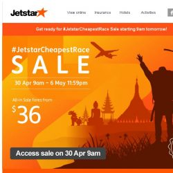 [Jetstar] 🏁 Get ready for #JetstarCheapestRace Sale! Check out some destinations and start planning.