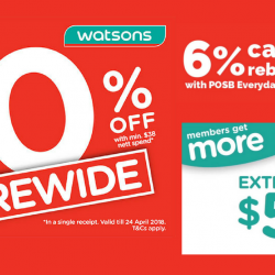 Watsons: Storewide 20% Sale with Min. $38 Nett Spend + 6% Cash Rebate with POSB Everyday Card!