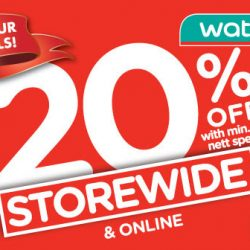 Watsons: Labour Day 20% OFF Storewide, 6% POSB Everyday Card Rebate & $5.10 Hot Deals!