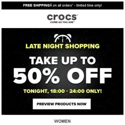 [Crocs Singapore] 【18:00-24:00 ONLY】 Up to 50% off‼ Enjoy Crocs' Late Night Shopping‼