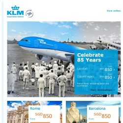 [KLM] Celebrate 85 years in Singapore with incredible deals