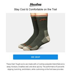 [Massdrop] Darn Tough Coolmax Cushioned Socks: Lifetime Guarantee, Made in Vermont for $44.99 (2-Pack)
