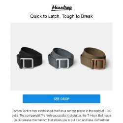 [Massdrop] Carbon Tactics Ti Hook Belt (Aluminum or Ti): Quick-Release Latch & Made in the USA for $34.99