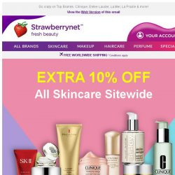 [StrawberryNet] , Extra 10% Off All Skincare Starts NOW