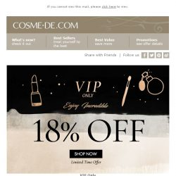 [COSME-DE.com] [Last TWO Days]  , incredible 18% OFF VIP offer!