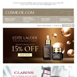 [COSME-DE.com] ♥ New Arrivals♥ Estée Lauder, Clarins Selected Items up to  15% OFF!