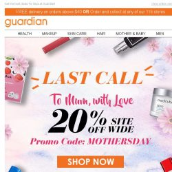 [Guardian] 💥 LAST CHANCE! 20% OFF Sitewide only at Guardian Online!