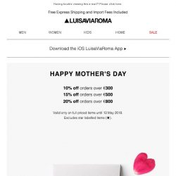 [LUISAVIAROMA] Last hours to get something for Mom: Up to 20% off