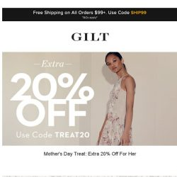 [Gilt] Extra 20% Off: For Her | Up to 70% Off: Sigerson Morrison and More Start Now