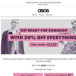 [ASOS] 20% off Every. Single. Thing!