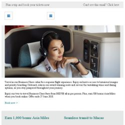 [Cathay Pacific Airways] Welcome onboard our Business Class cabin from SGD708 all-in