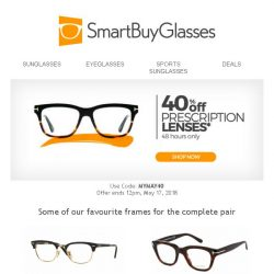 [SmartBuyGlasses] 40% off all our quality lenses (includes add-ons!) - get your code inside!