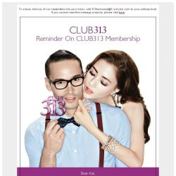 [313somerset] Reminder On CLUB313 Membership