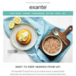 [Exante Diet] Want to keep hearing from us?