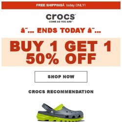 [Crocs Singapore] 【ENDS TODAY】 Last chance to get Crocs 50% off‼️