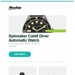 [Massdrop] Spinnaker Cahill Diver Automatic Watch, Glycine Combat 6 Classic Moonphase Automatic Watch, Rike Knife Damascus Hummingbird Mini Flipper Knife and more...