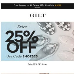 [Gilt] Extra 25% Off: Shoes | Designer Steals Under $299 and More Start Now