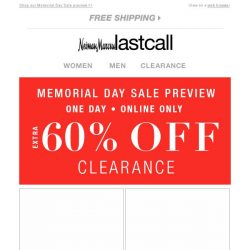 [Last Call] Save an extra 60% off clearance!