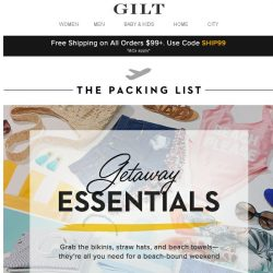 [Gilt] Long Weekend Essentials ✔️