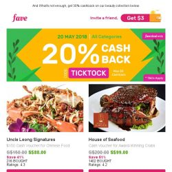 [Fave] 20% Cashback Sitewide, So... Spoil Yourself!