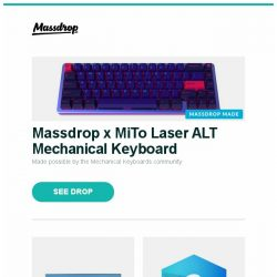 [Massdrop] Massdrop x MiTo Laser ALT Mechanical Keyboard, LG ThinQ 55/65 4K HRD Smart LED UHD TV, Massdrop Blue Box: Spyderco Native 5 and more...