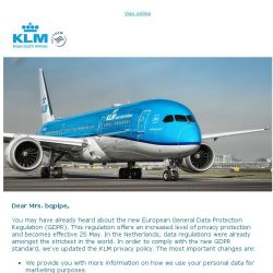 [KLM] KLM has updated her privacy policy