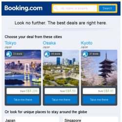 [Booking.com] Tokyo, Osaka, or Kyoto? Get great deals, wherever you want to go