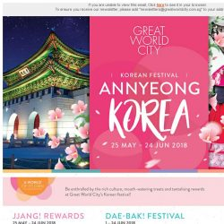 [Great World City]  Great World City presents ANNYEONG KOREA (25 May - 24 Jun 2018)