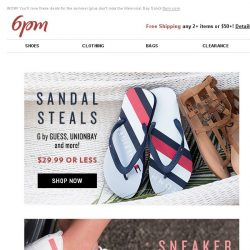 [6pm] $29.99 Sandal & Sneaker Steals (and more)!