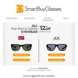 [SmartBuyGlasses] End of May sale on best-selling brands: 12% off 2 brands for 2 days only!