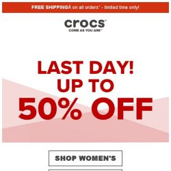 [Crocs Singapore] 【ENDS TODAY】 Don't mIss out‼️ - up to 50% off at Crocs‼️