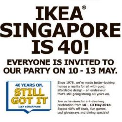 IKEA Singapore: 40th Anniversary Celebrations with Limited Edition IKEA 40th Anniversary Pins, FREE Dining, Dining Specials & Many Other Offers!