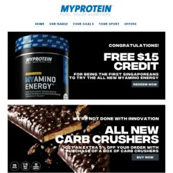 [MyProtein]  , You Have $15 Free Credits!