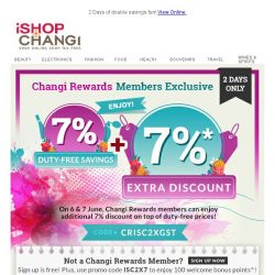 [iShopChangi] 7% GST Savings + 7% Extra Discount 🎊