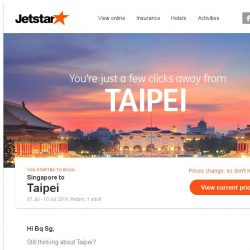 [Jetstar] Taipei is only a few clicks away, Bq Sg!