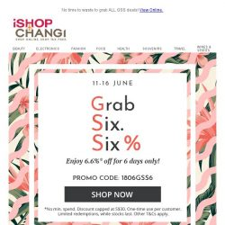 [iShopChangi] 6.6%. Flash. Sale. Alert. NOW!!!